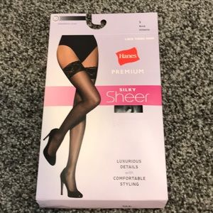 Hanes Silky Sheer Lace Thigh High Stockings